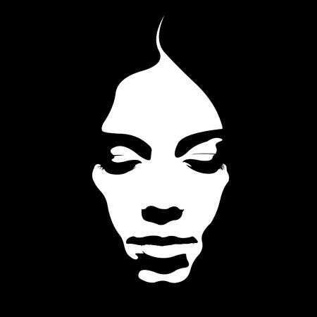Debido tono cartel retro del estilo de la cara de mujer mirando hacia abajo. Fácil ilustración vectorial capas editables. Foto de archivo - 75224441