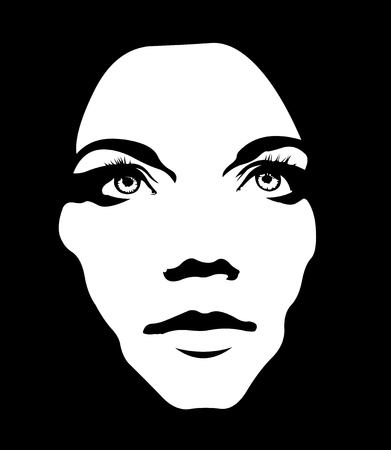 Close up monochrome portrait of girl looking up. Woman face layered vector illustration.