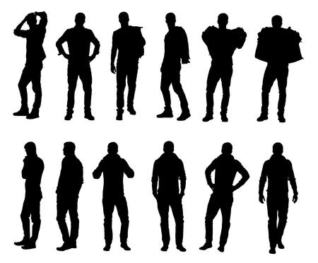 Colección de modelo de moda masculina llevando suéter o chaqueta en ropa de invierno diferente caliente. Fácil editable capas ilustración vectorial. Ilustración de vector