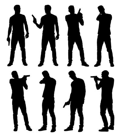 Conjunto de policía masculina joven, espía o delincuente sosteniendo, apuntando y apuntando arma de mano en diferentes poses. Ilustración vectorial en capas editable fácil.