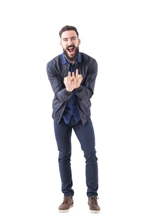 Rude bearded man showing triple middle finger obscene gesture at camera. Full body isolated on white background.