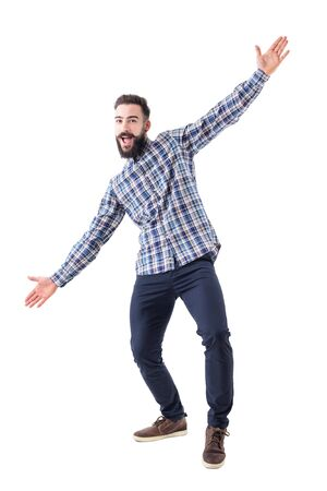 Cheerful excited bearded business man with open arms welcoming hugging gesture. Full body isolated on white background. Фото со стока