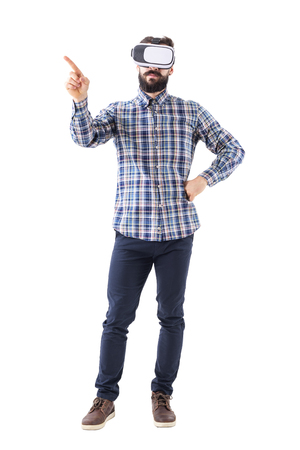 Business man with virtual reality glasses doing change or swipe screen gesture. Full body isolated on white background.