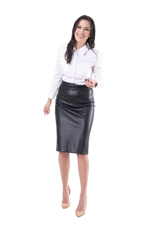 Overjoyed laughing business woman trying to explain talking and gesticulating. Full body isolated on white background.