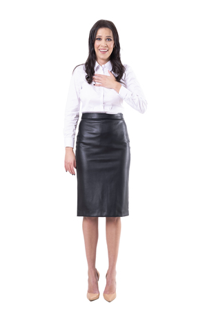 Phew concept. Relieved expression of young business woman hearing good news. Full body isolated on white background. Banco de Imagens