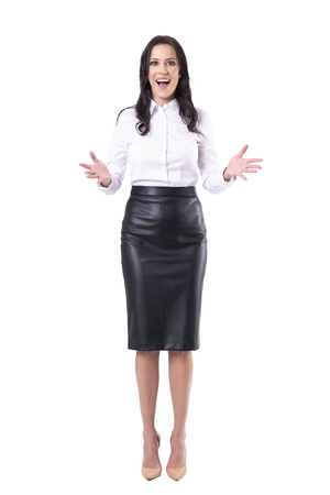 Amazed gleeful ecstatic business woman greeting happy to see you. Full body isolated on white background. 版權商用圖片