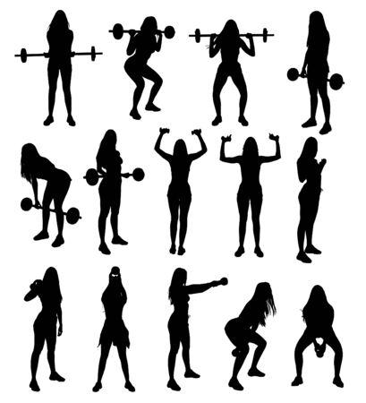 Ensemble de silhouette de gym fitness haltérophilie exerce une jeune femme séduisante. Illustration vectorielle. Vecteurs