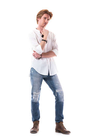 Young red hair male fashion model wearing ripped jeans white shirt and sunglasses. Full body length isolated on white background. 스톡 콘텐츠