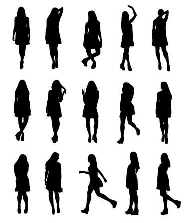 Silhouettes set of young fashion model woman in airy fluttering dress full body. Easy editable layered vector illustration.