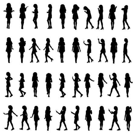 Many full body silhouettes of young woman in dress walking talking using phone or running. Side view and front. Layered vector illustration. Vektorgrafik