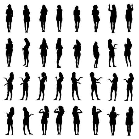 Collage of silhouettes of young woman in bath towel presenting, inviting and using touch screen. Easy editable layered vector illustration.