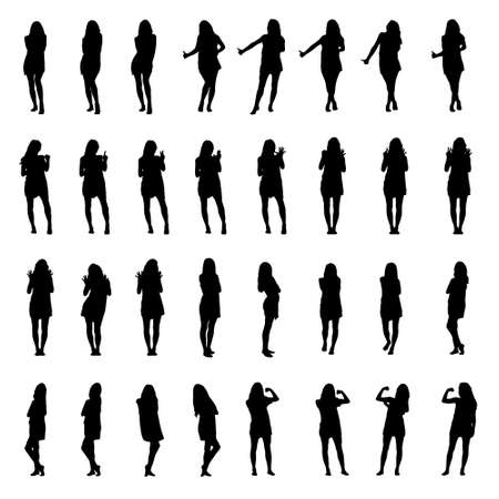 Silhouettes collection of woman with many different gestures, hitchhiking or counting with fingers. Full body layered vector illustration.