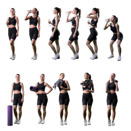 Collection of various gym woman drinking water or wiping sweat with towel after workout. Full body isolated on white background.