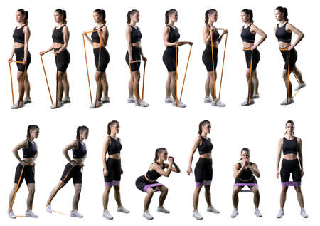 Set of different resistance band stretching exercises for legs or arms by fitness woman. Full body isolated on white background.