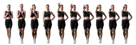 Motivation set of fitness gym woman encouraging and countdown gestures. Full body isolated on white background.