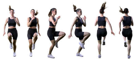 Set of different sprinting and running woman in action front side and back view. Full body isolated on white background. Stockfoto