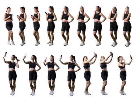 Collection of sporty fit woman using cell phone talking or taking selfies photographs. Full body isolated on white background.
