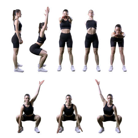 Set of various side and front views back and arm yoga stretching exercises by fit woman. Full body isolated on white background. Stockfoto