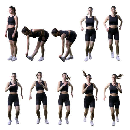 Set of fit sporty woman stretching and doing various aerobics cardio exercises. Full body isolated on white background.