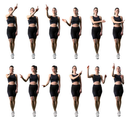 Set of sporty fitness woman using various touch screen gestures. Full body isolated on white background.