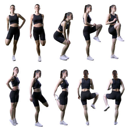 Collection of various different legs hips or ankle stretching warm up exercises by fit woman. Full body isolated on white background.
