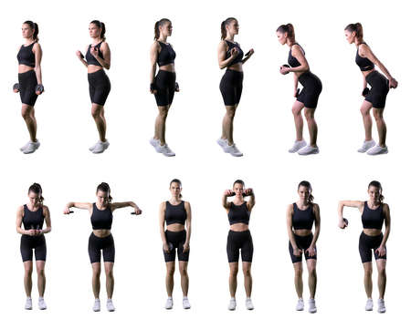Set of different weightlifting exercises by fit woman with barbell weights. Full body isolated on white background.