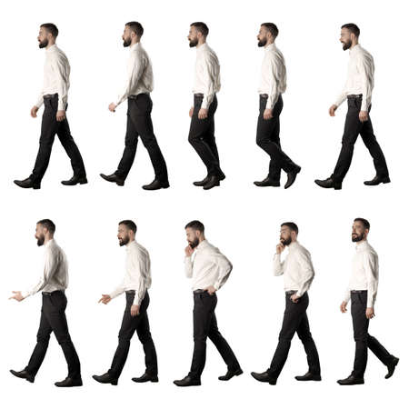 Collection of side view walking business man talking thinking and smiling. Full body isolated on white background.