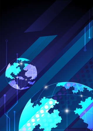 Modern world background. main color is blue. technology, business, modern style.