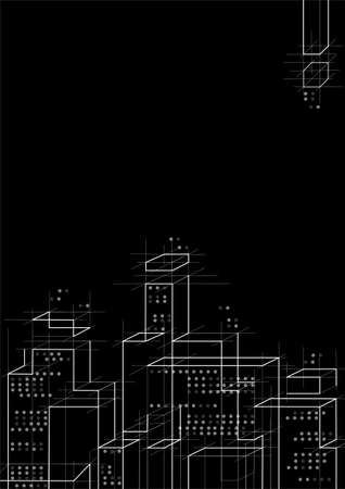The building and technology, green outline on the black background, business, city, modern Çizim