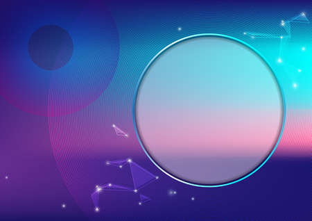 The circle on the galaxy colors with stars, background, technology, presentation Illustration