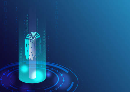 Blue fingerprint and digital system on the dark background, technology, network in the future