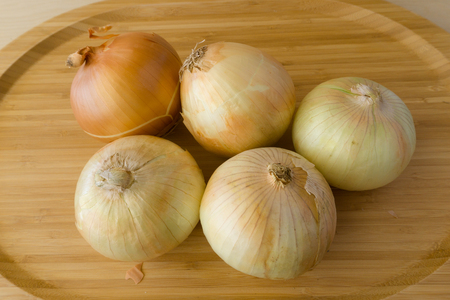 Onion on wood background
