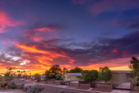 many beautiful colors Sunset in Yuma Arizona Stock Photo