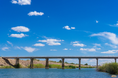 Colorado River Bridge under blue sky in Yuma Arizona