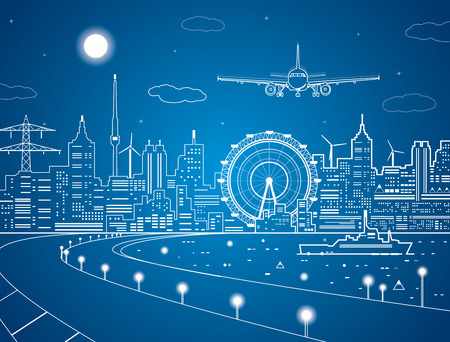 Airplane comes in to land on the background of the city at night, the ship on the water Stock Vector - 29453221