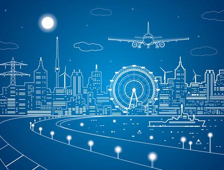 Vliegtuig komt te landen op de achtergrond van de stad 's nachts, het schip op het water