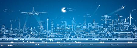 Luchthaven panorama, stedelijke infrastructuur