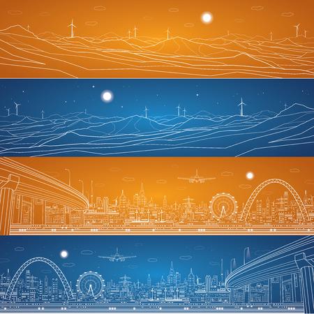 electricidad industrial: Energ�a panorama industrial, paisaje de monta�as