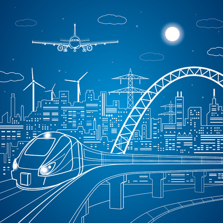 city lights: lines train on the bridge, train on the background of the light city and plane comes in to land
