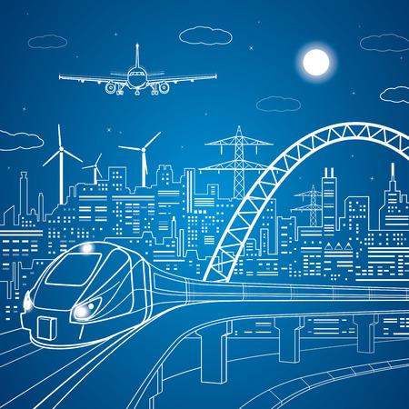 Linien Zug auf der Brücke, Zug auf dem Hintergrund des Licht Stadt und Flugzeug kommt in den Land