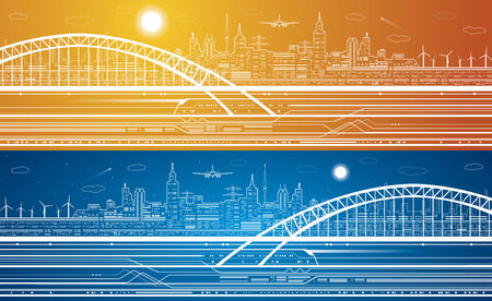 Vector lines train, train on the bridge, background light city, train move, airplane fly, infrastructure  イラスト・ベクター素材