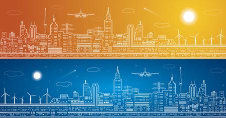 mosca: L�neas panorama de la ciudad, la ciudad luz, las moscas de avi�n Vectores