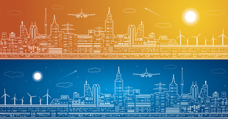 fly: Lines city panorama, light town, airplane flies Illustration