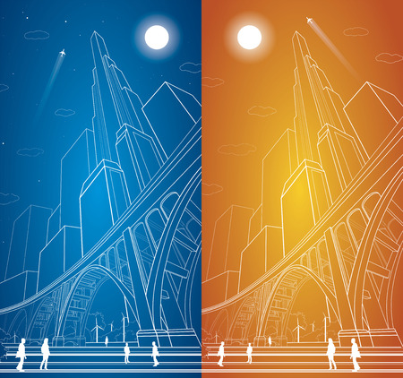 Vector big bridge, arch bridge, vector lines night city, people, airplane fly, vector art, day and night 矢量图像