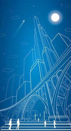 Vector big bridge, arch bridge, vector lines night city, people, airplane fly, vector art, night  イラスト・ベクター素材
