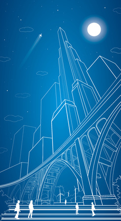 Vector big bridge, arch bridge, vector lines night city, people, airplane fly, vector art, night 矢量图像