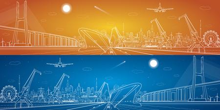 Grote brug, vector industriële vracht haven panorama, vector lijnen landschap, nacht stad, schip op het water
