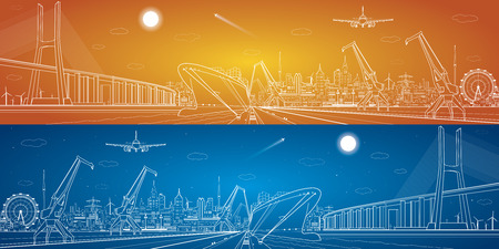 Big bridge, vector industrial cargo port panorama, vector lines landscape, night city, ship on the water Illustration