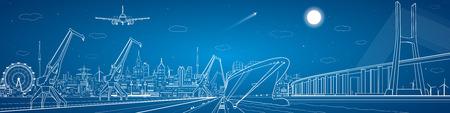 Big bridge, industrial cargo port panorama, lines landscape
