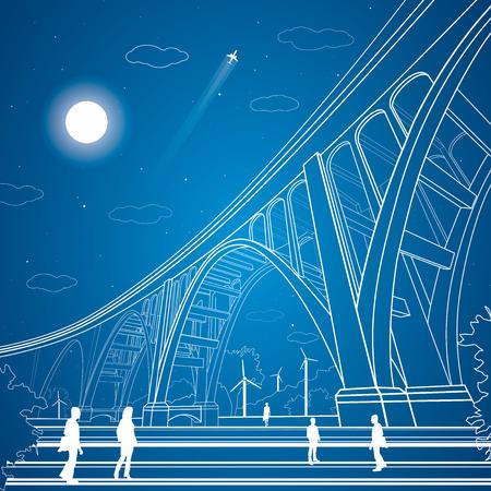 modern bridge: Vector big bridge, arch bridge, vector lines garden, people, vector art